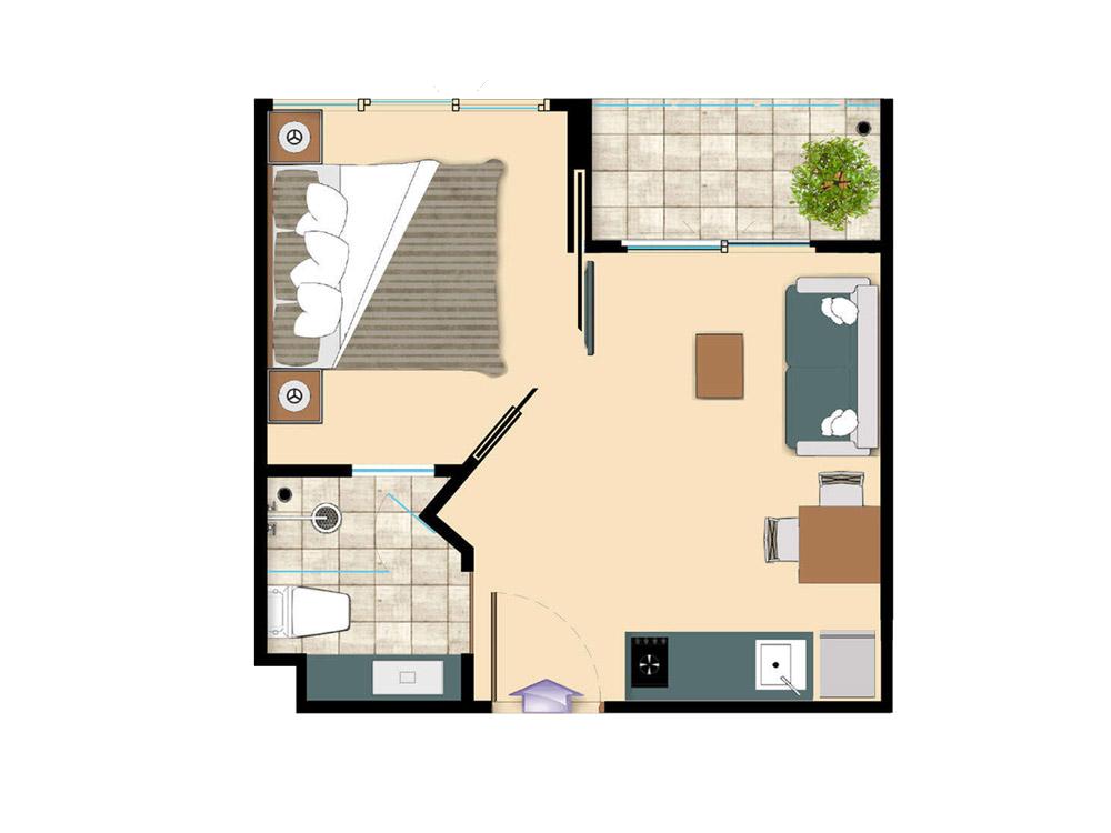 1 bedroom 24 Sq m