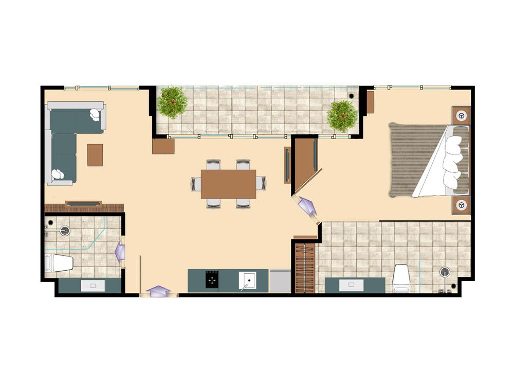 1 bedroom 32